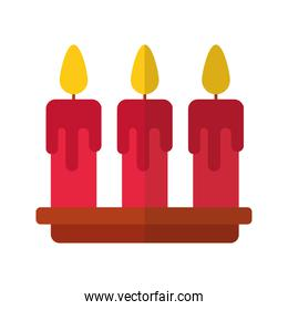 happy merry christmas candles flat style icon