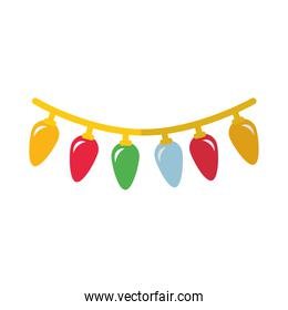 happy merry christmas lights flat style icon