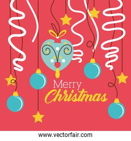 happy merry christmas celebration card with balls and garlands hanging
