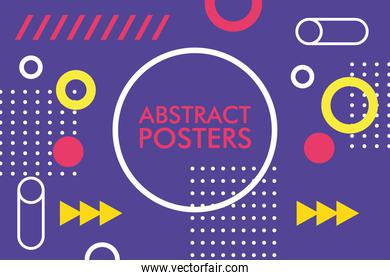 abstract poster with memphis banner in circular frame