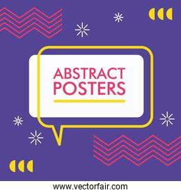abstract poster with memphis banner in speech bubble