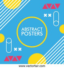 blue abstract poster with memphis banner in circular frame
