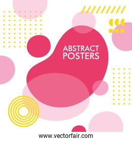 white and pink abstract poster with memphis banner
