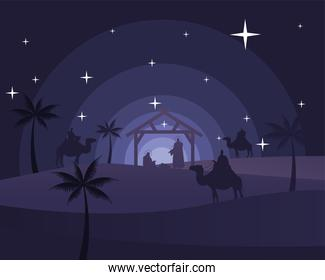 happy merry christmas card with holy family in stable and magic kings in camels silhouette scene