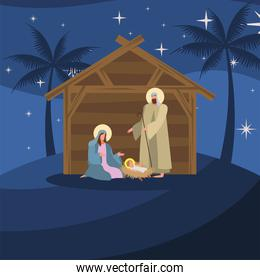 happy merry christmas card with holy family in stable