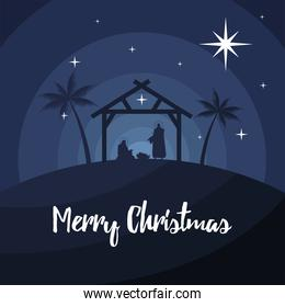 happy merry christmas lettering with holy family in stable silhouette