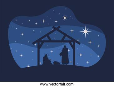 happy merry christmas card with holy family in stable silhouette scene
