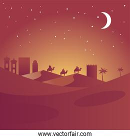 happy merry christmas card with magic kings in camels silhouettes desert scene
