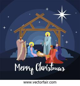 happy merry christmas lettering with holy family in stable scene