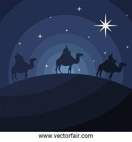 happy merry christmas card with magic kings in camels silhouette