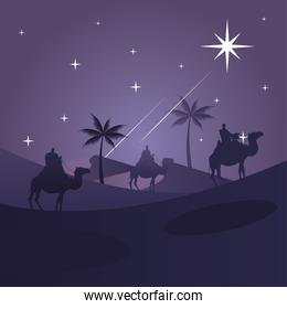 happy merry christmas card with magic kings in camels silhouettes scene