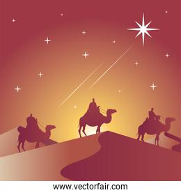 happy merry christmas card with magic kings in camels silhouette scene