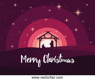 happy merry christmas lettering with holy family in stable silhouette scene