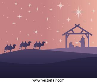happy merry christmas card with holy family and camels in stable silhouette scene