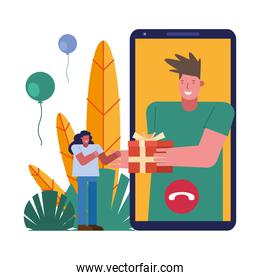 couple opening gifts in smartphone characters scene