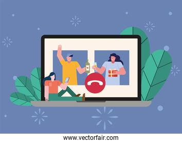 people opening gifts in laptop characters scene