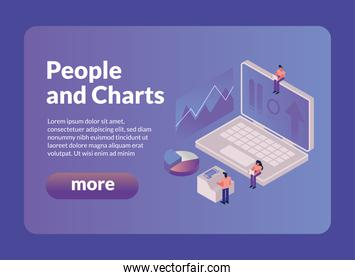 people and charts with laptop and more button