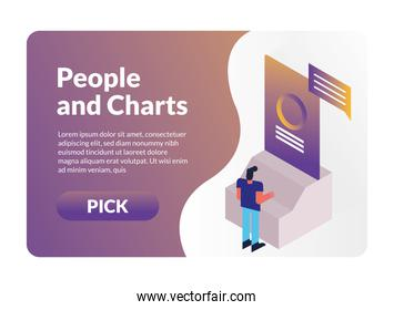 man and charts with pick button character