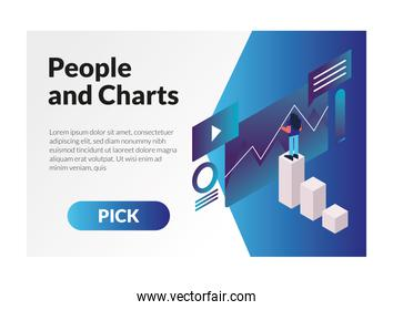 woman and charts with web templates character