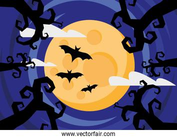 happy halloween card with trees and bats at night