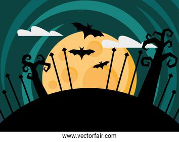 happy halloween card with bats flying at night scene