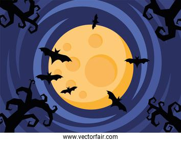 happy halloween card with bats flying and fullmoon scene