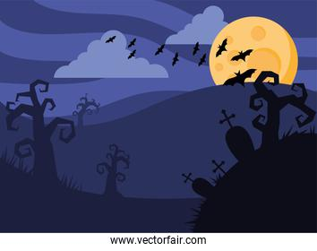 happy halloween card with bats flying and fullmoon