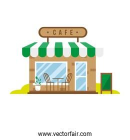 little coffee store building facade scene