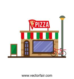 little pizza store building facade scene