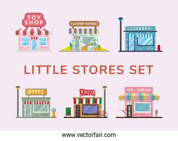 group of little stores facades