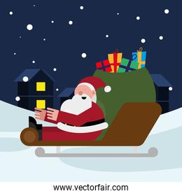 santa claus with gifts bag in sled christmas character