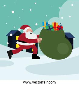 santa claus running with gifts bag christmas character