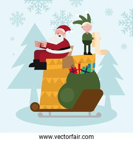 santa claus and elf with gifts bag in chimney christmas characters