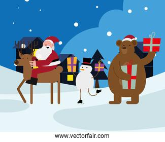 santa claus in reinder with snowman and bear christmas characters
