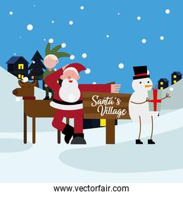 elf in reindeer with santa claus and snowman christmas characters