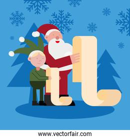 santa claus and elf reading gifts list christmas characters