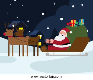 santa claus with gifts bag in sleed and reindeer christmas character