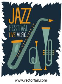 jazz festival poster with saxophone and trumpets