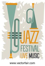 jazz festival poster with trumpets