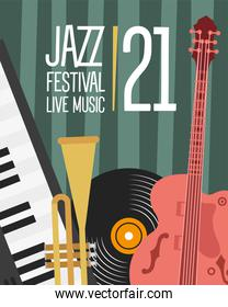 jazz festival poster with guitar and instruments