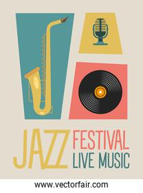 jazz festival poster lettering with saxophone and instruments