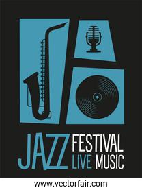 jazz festival poster with saxophone and instruments