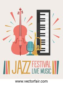 jazz festival poster with instruments and lettering