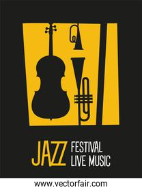 jazz festival poster with instruments silhouettes and lettering