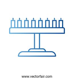 jewish menorah gradient style icon vector design