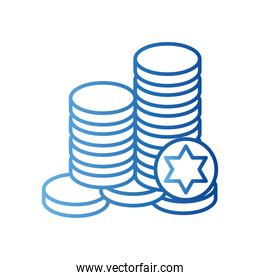 jewish gelt coins gradient style icon vector design