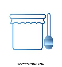 honey jar with stick gradient style icon vector design