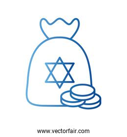 jewish gelt bag with coins gradient style icon vector design