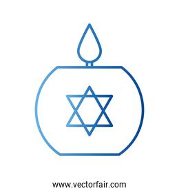jewish candle gradient style icon vector design
