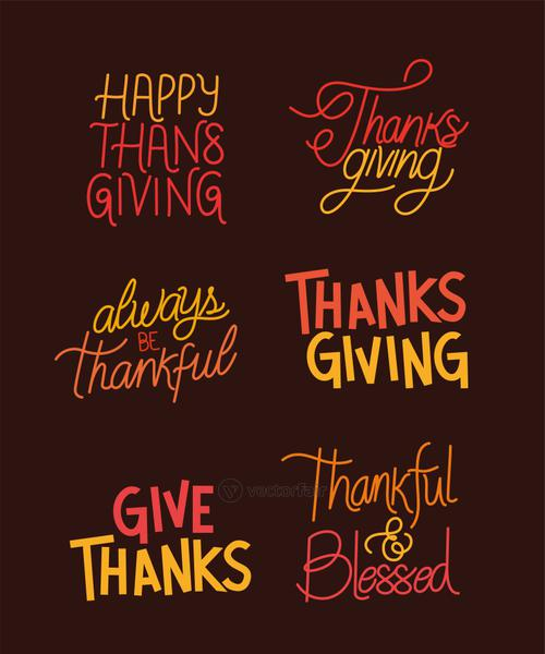 Happy thanksgiving lettering set icons vector design